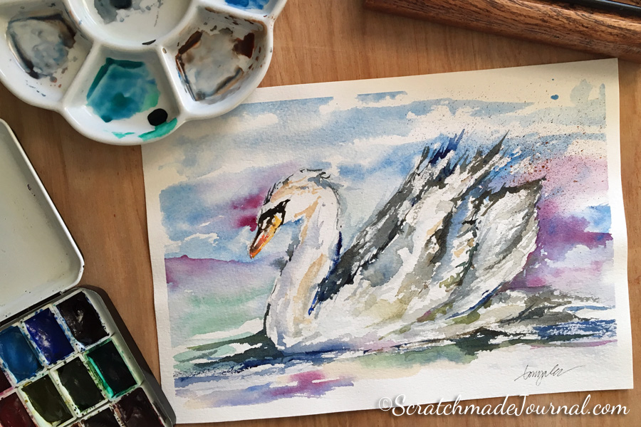 Trumpet swan watercolor - ScratchmadeJournal.com