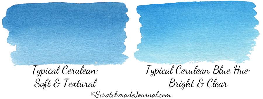 Comparing Blue Watercolors: Cerulean vs Cerulean Hue - ScratchmadeJournal.com