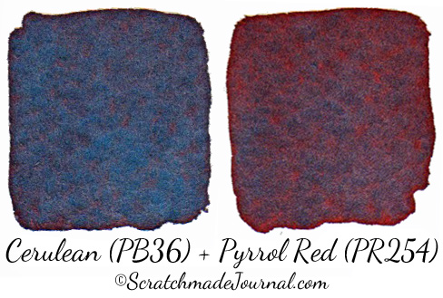 Cerulean Blue mixed with Pyrrol Red - ScratchmadeJournal.com