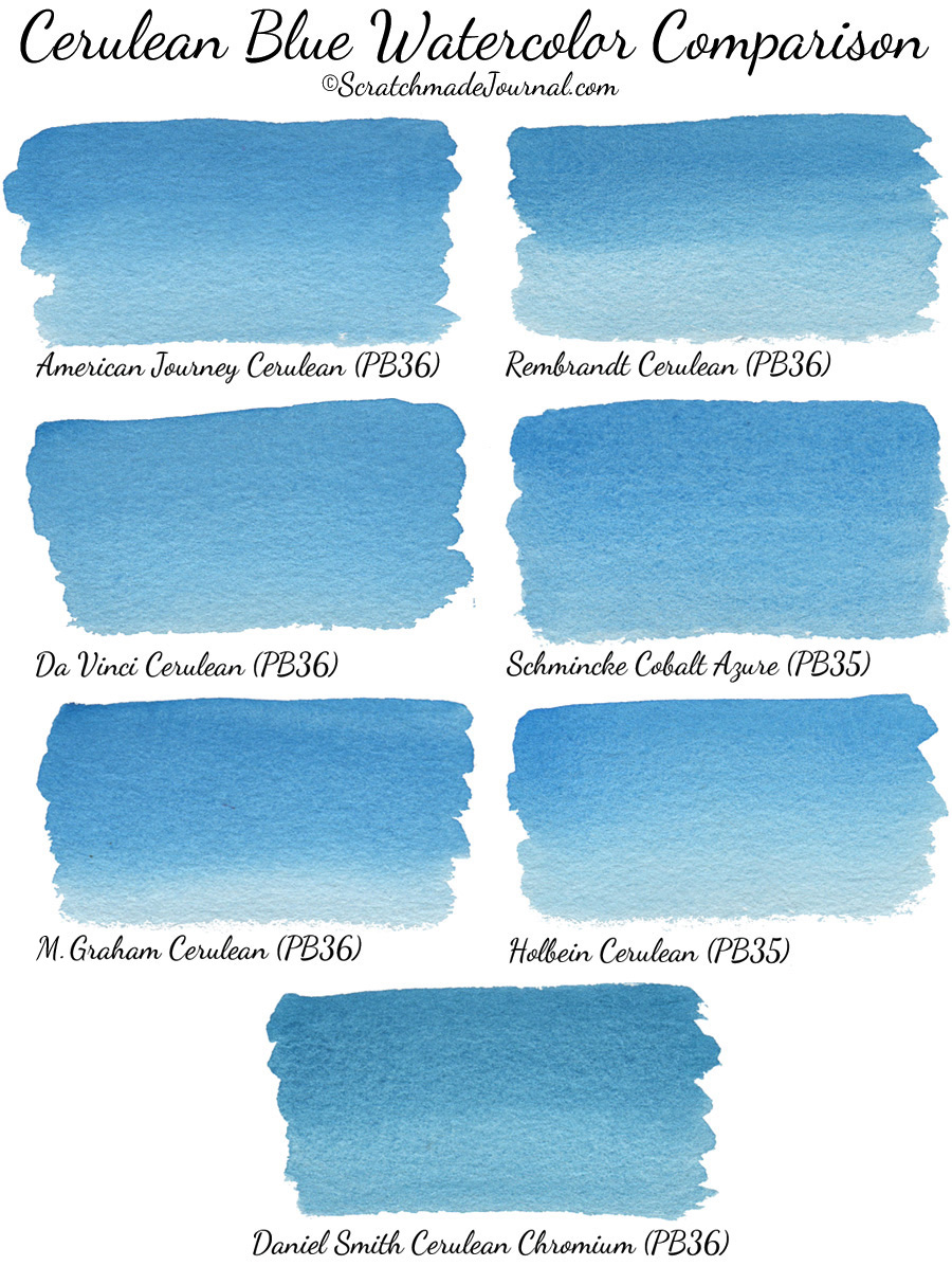 Cerulean blue watercolor brand comparison - ScratchmadeJournal.com