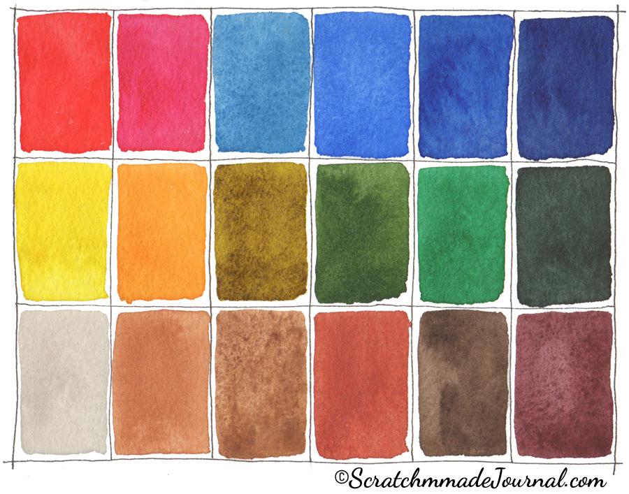 18 color watercolor palette option - ScratchmadeJournal.com
