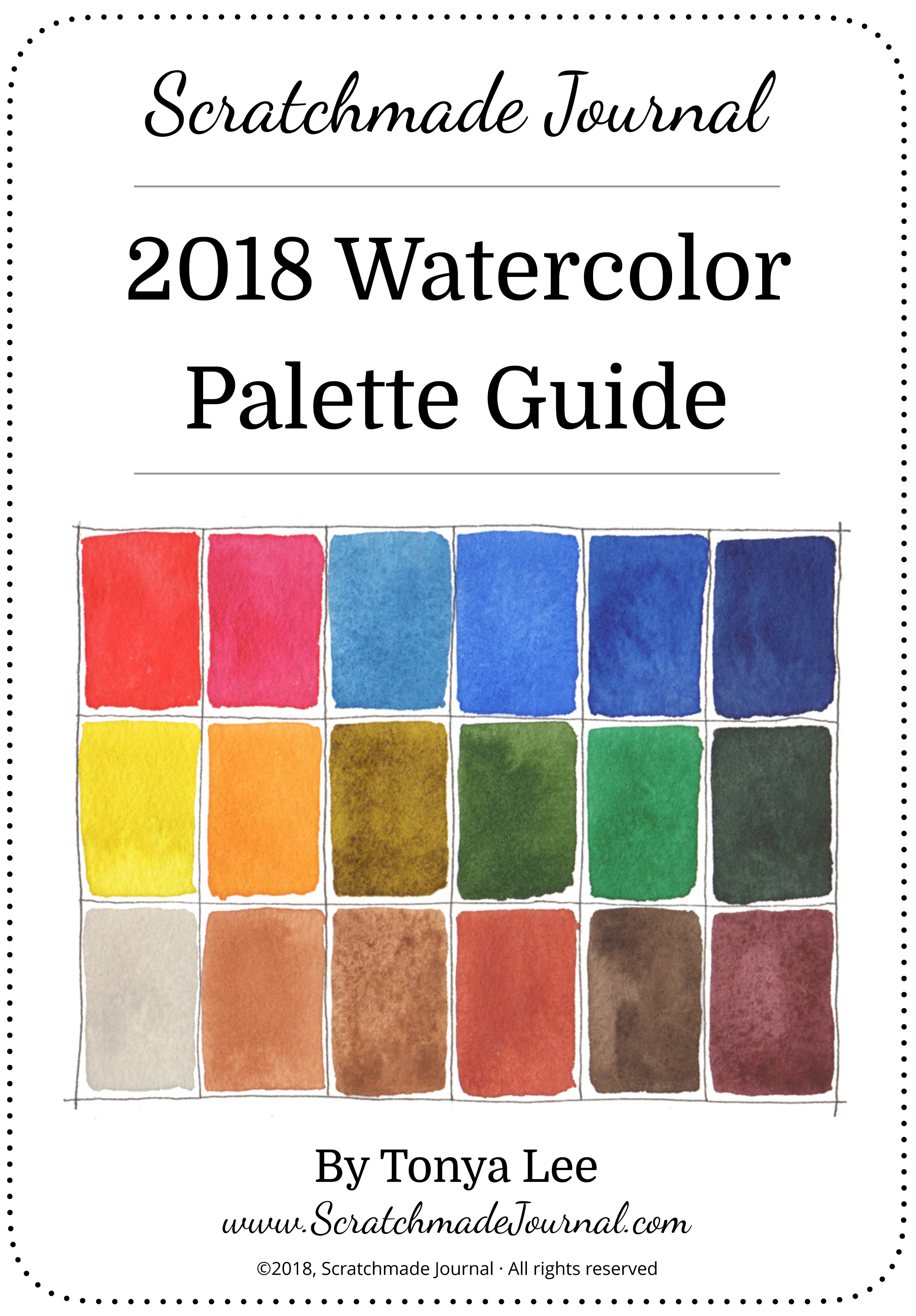 2018 Watercolor Palette eBook - ScratchmadeJournal.com