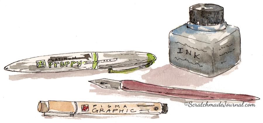 Pens and ink sketch illustration - ScratchmadeJournal.com