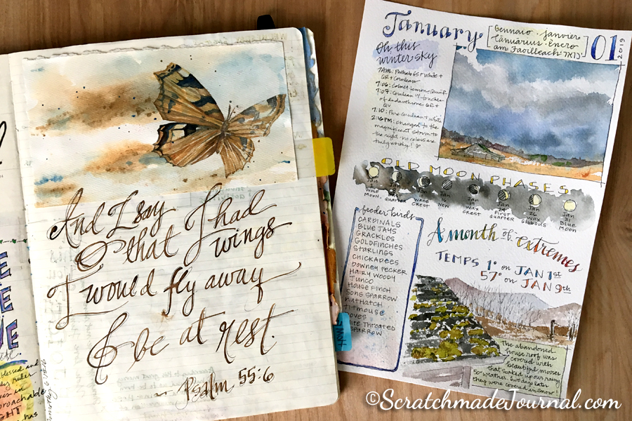 Examples of my art journaling pages. In January 2015 (left), I had just begun to paint and letter. The example on the right is exactly three years later. I'm slowly improving!