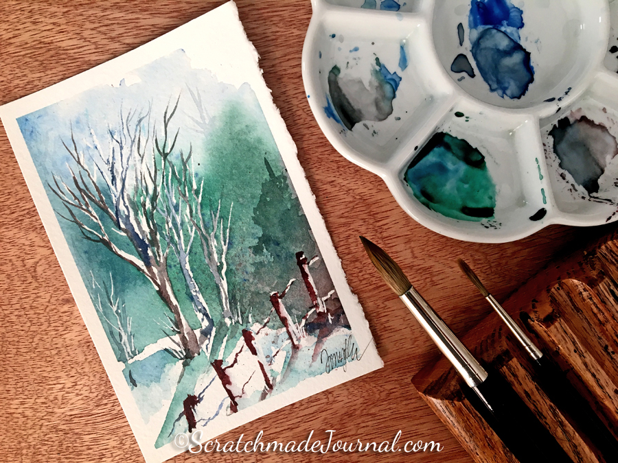 Winter woodland watercolor landscape PLUS a tutorial - ScratchmadeJournal.com