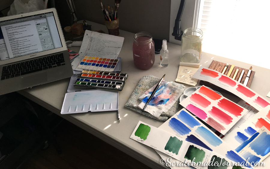 Countless hours were spent analyzing & testing Schmincke Horadam watercolors before I felt confident enough to build a palette of colors!