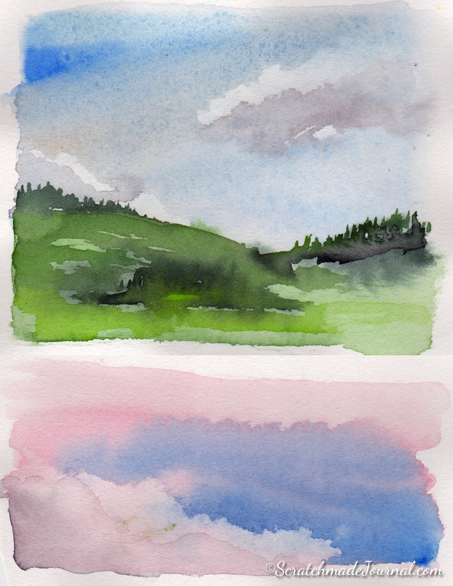 These quick watercolor sketches & sky studies are examples of my unsuccessful attempts to embrace Schmincke's hard edges.