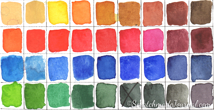 Schmincke Horadam watercolor palette with 35 colors - ScratchmadeJournal.com