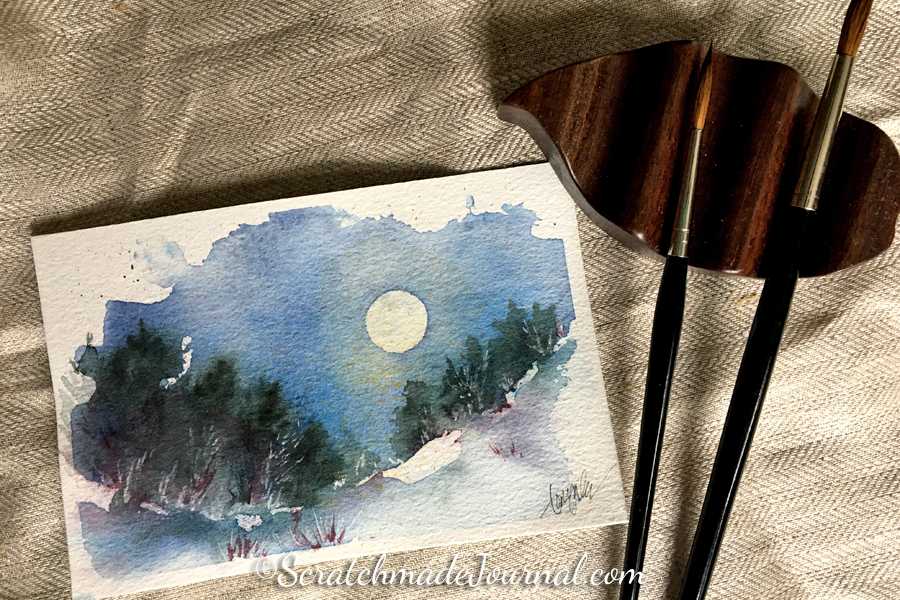 Full moon nighttime watercolor landscape - ScratchmadeJournal.com