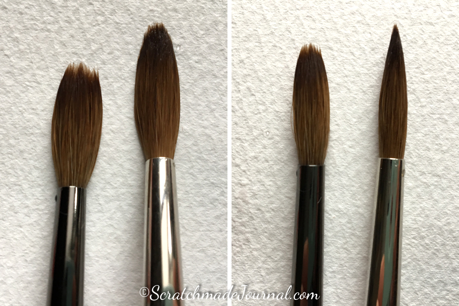 Comparing a kolinsky sable watercolor brush versus a sable blend - ScratchmadeJournal.com