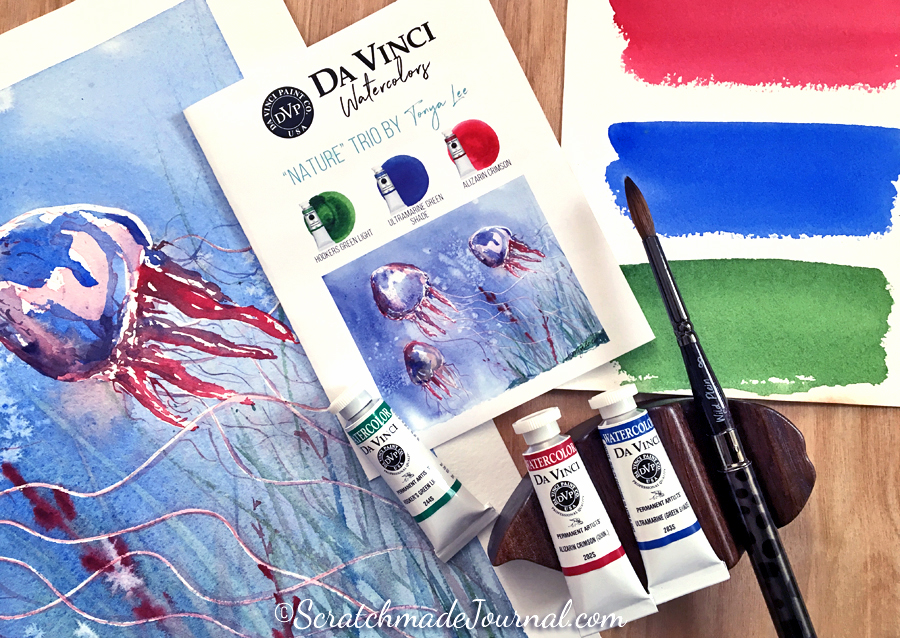 Tonya's Nature Trio with Da Vinci Watercolor Paints - ScratchmadeJournal.com