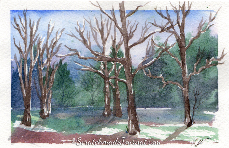 Forest watercolor sketch - ScratchmadeJournal.com