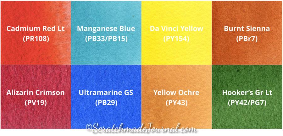 8-color watercolor palette - ScratchmadeJournal.com