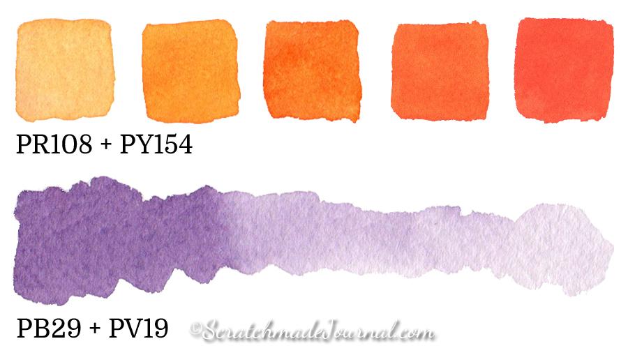 8-color watercolor palette example mixes - ScratchmadeJournal.com