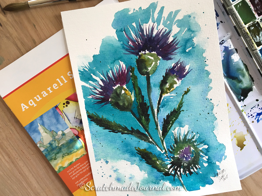 Watercolor thistle flowers on Hahnemühle Britannia paper - ScratchmadeJournal.com