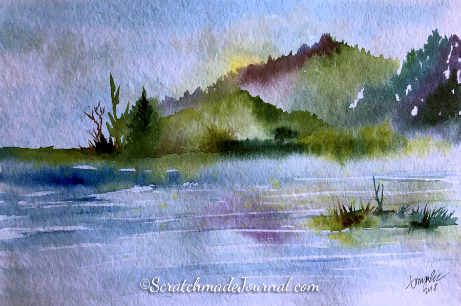 Mountain lake watercolor landscape on Hahnemühle Torchon paper - ScratchmadeJournal.com