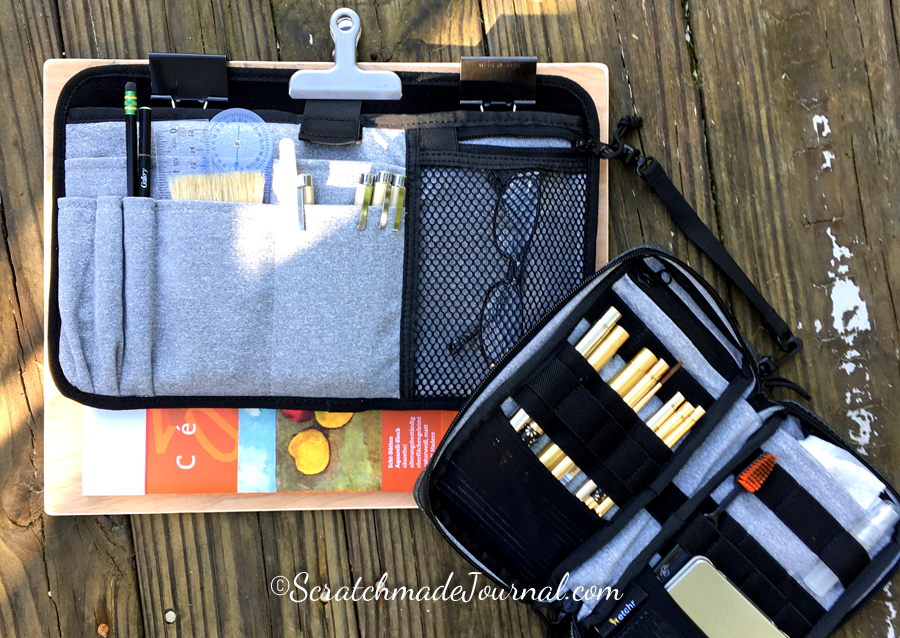 I clipped the Etchr satchel insert and the field case to a drawing board to create a lightweight and portable plein air setup.