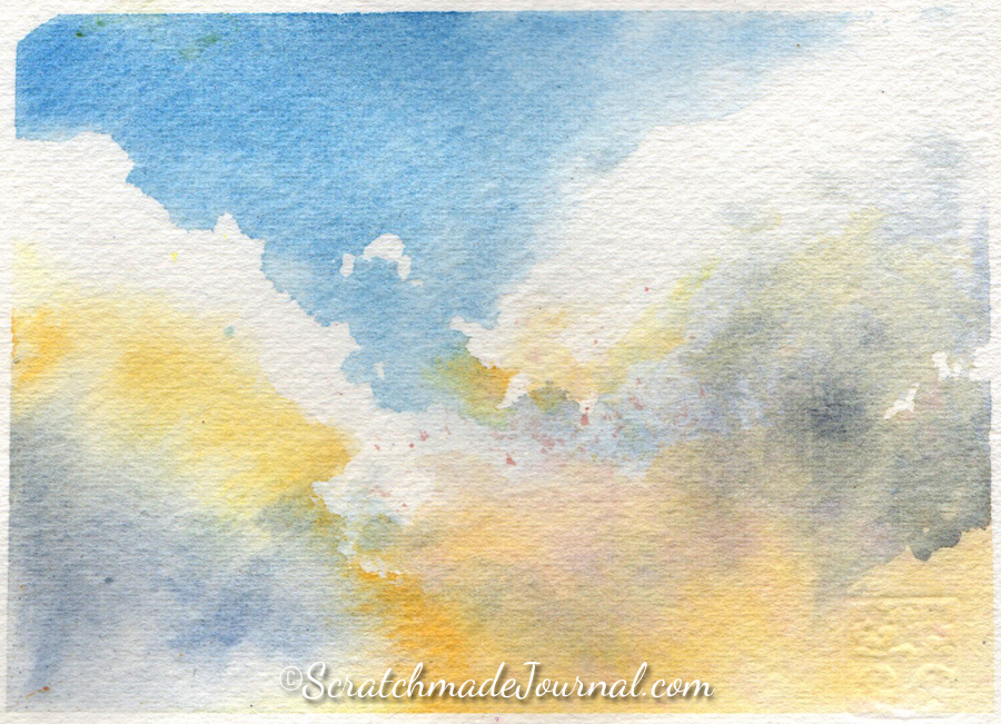 Watercolor sky & cloud painting using yellow, blue and gray - ScratchmadeJournal.com