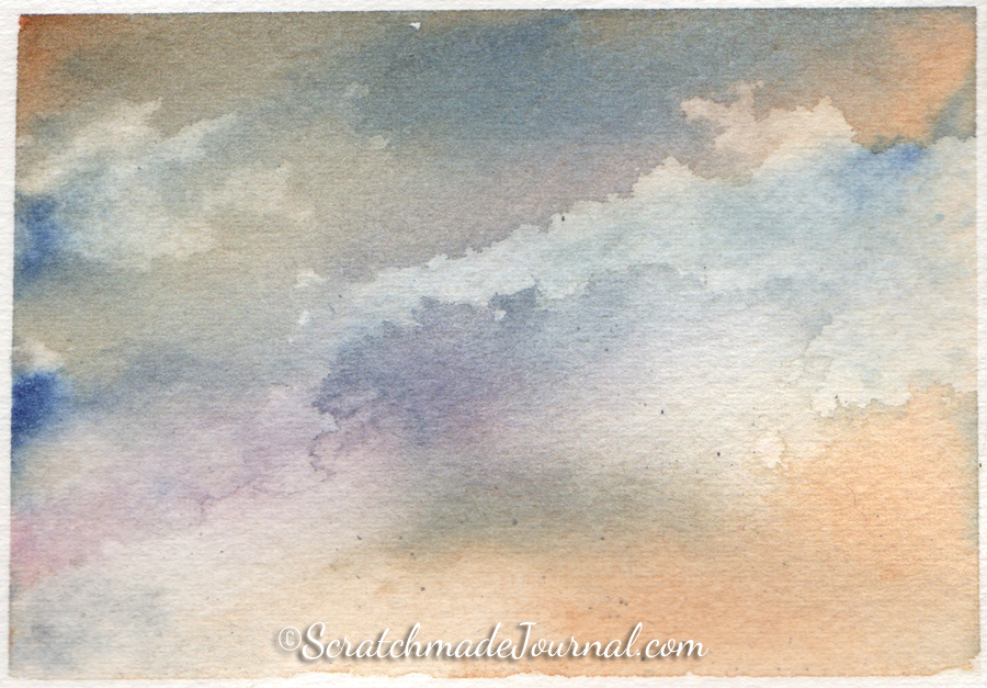 Watercolor sky & cloud painting using orange, violet and blue - ScratchmadeJournal.com