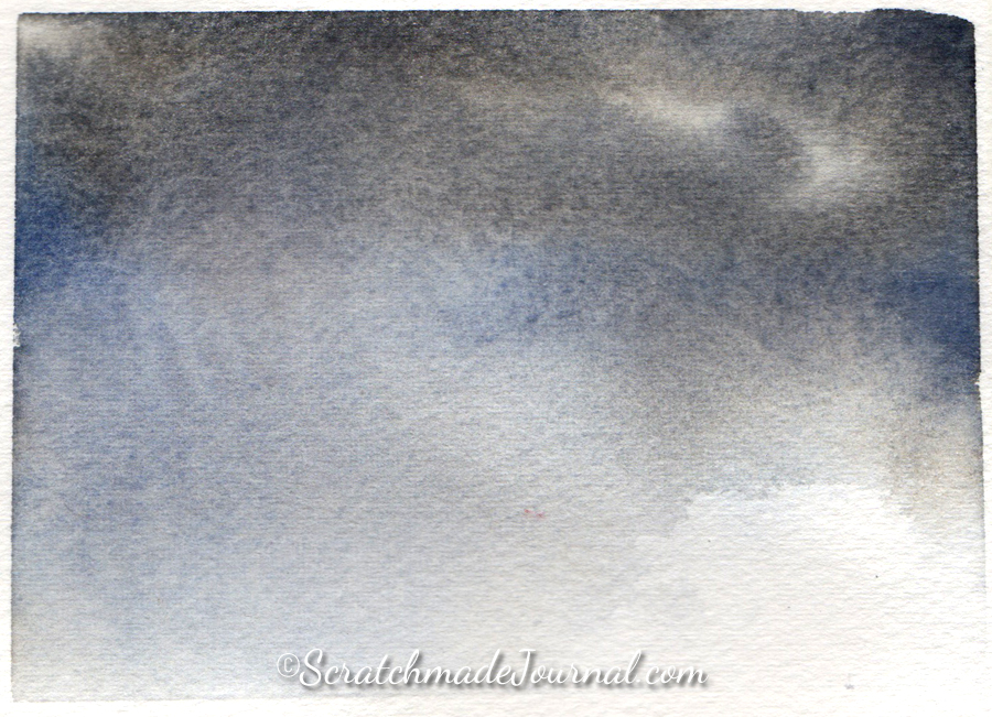 How to paint a stormy sky in watercolor - ScratchmadeJournal.com