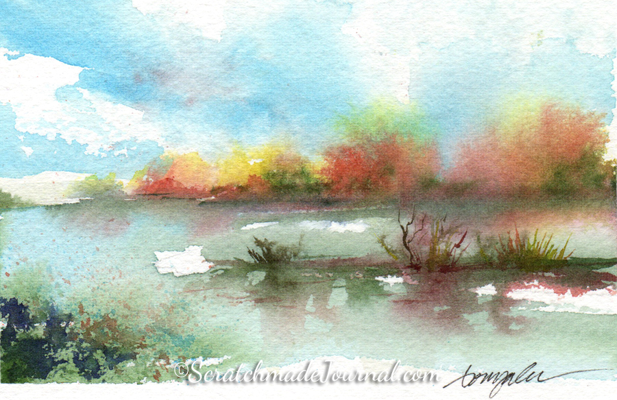 A watercolor tutorial on how to paint bold and beautiful skies - ScratchmadeJournal.com