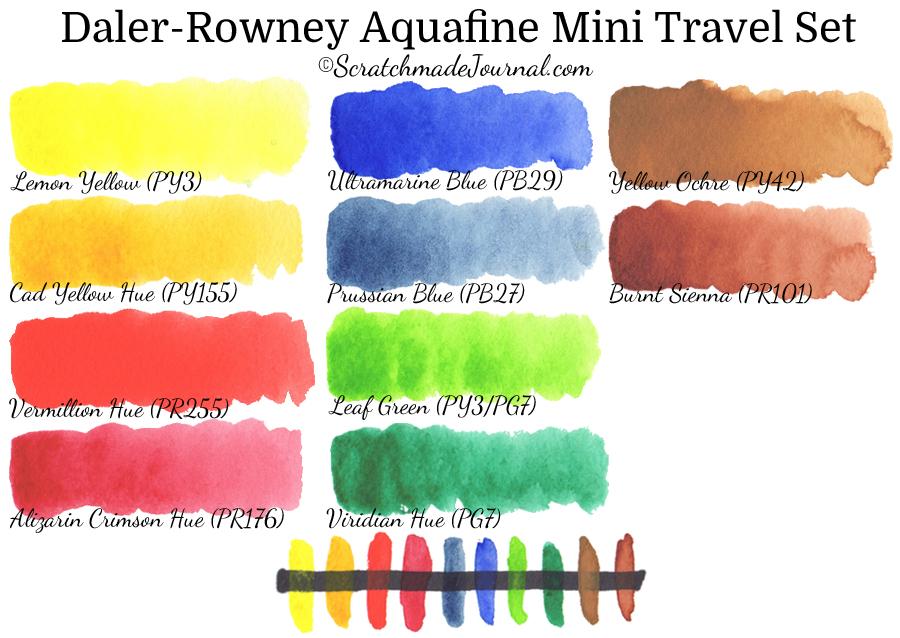 Daler-Rowney Aquafine travel set watercolor paint swatches & review - ScratchmadeJournal.com