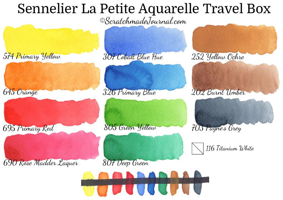 Sennelier La Petite Aquarelle Travel Box watercolor paint swatches & review - ScratchmadeJournal.com