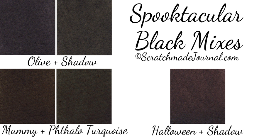 Creating black mixes with the fall watercolor palette - ScratchmadeJournal.com