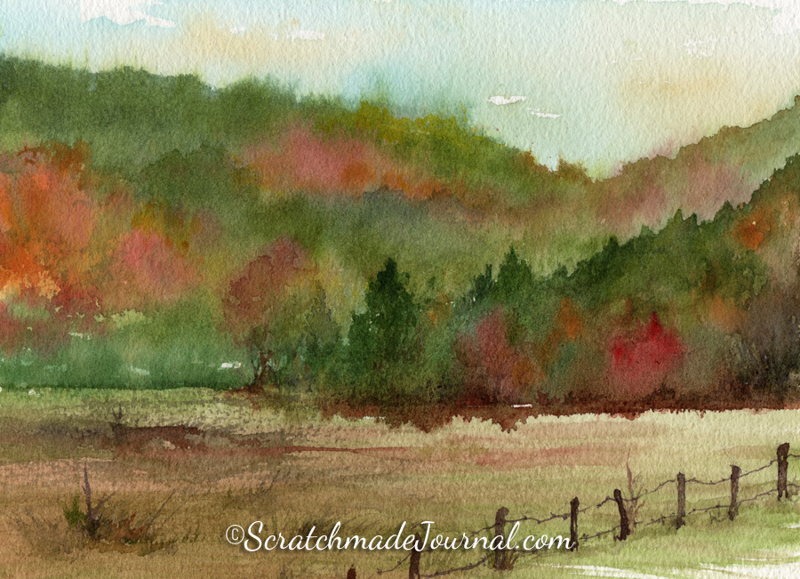 Appalachian mountains in the fall autumn watercolor landscape - ScratchmadeJournal.com