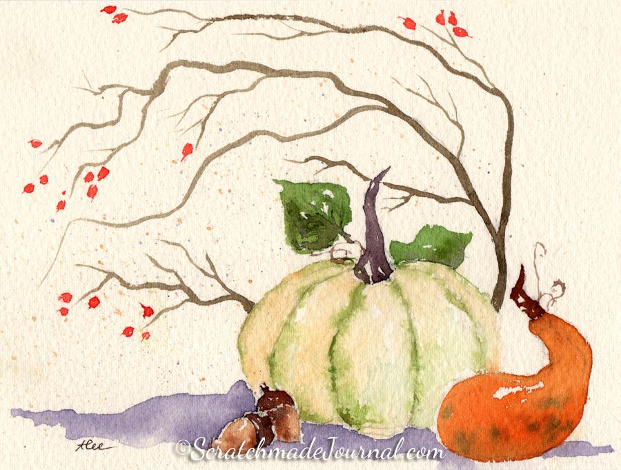 Pumpkin fall harvest watercolor illustration - ScratchmadeJournal.com