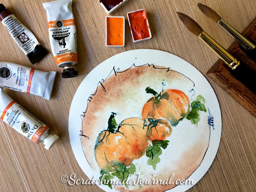 Pumpkin watercolor demo & orange watercolor overview - ScratchmadeJournal.com