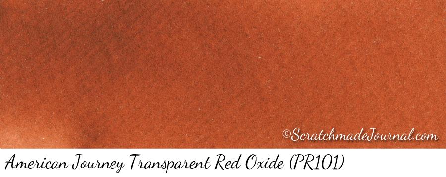 American Journey Transparent Red Oxide PR101 watercolor swatch - ScratchmadeJournal.com