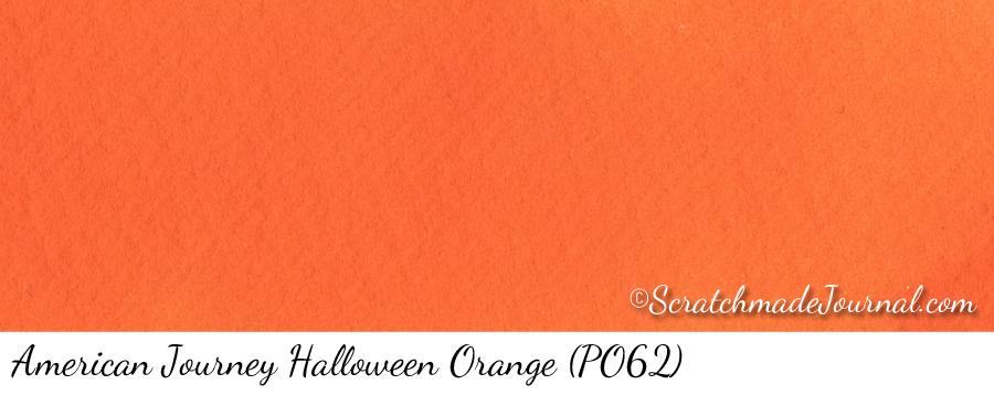 American Journey Halloween Orange PO62 watercolor swatch - ScratchmadeJournal.com