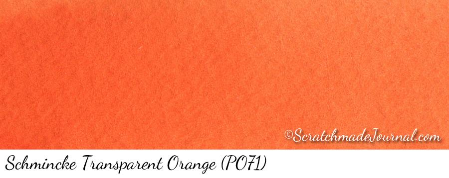 Schmincke Horadam Transparent Orange PO71 watercolor swatch - ScratchmadeJournal.com