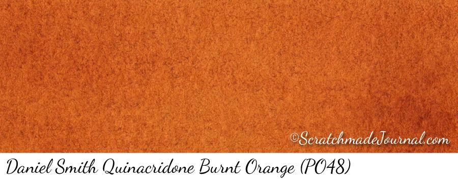 Daniel Smith Quinacridone Burnt Orange PO48 watercolor swatch - ScratchmadeJournal.com