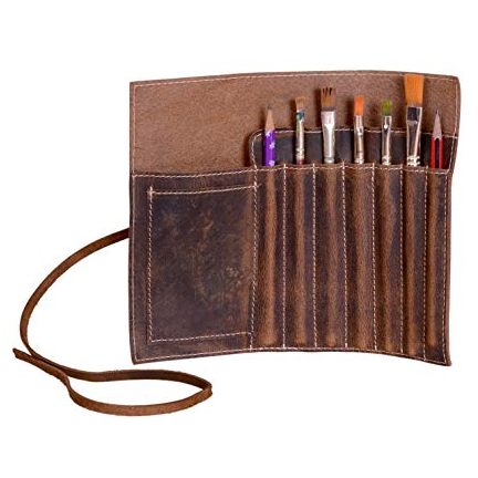 This leather brush & pencil wrap is a top 10 watercolor gift for artists - ScratchmadeJournal.com