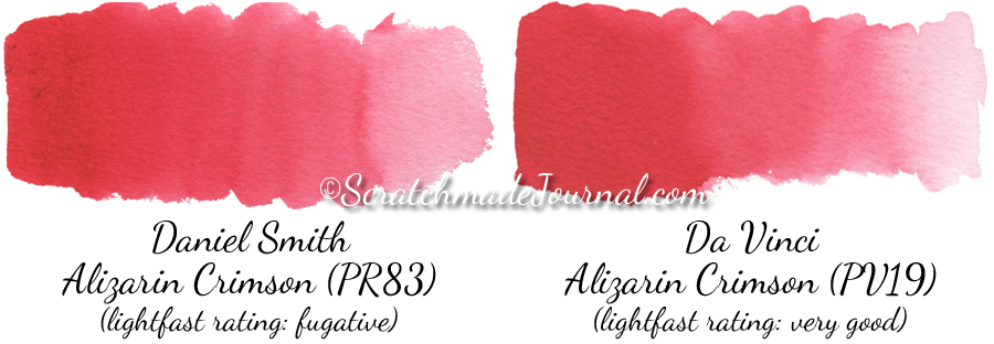 I put both of these Alizarin Crimson's through various performance tests. Da Vinci's Alizarin Crimson (PV19) appears identical to the original, fugitive Alizarin Crimson (PR83) but with no lightfast issues. I actually preferred Da Vinci's version when painting because it produced smoother and more consistent results.