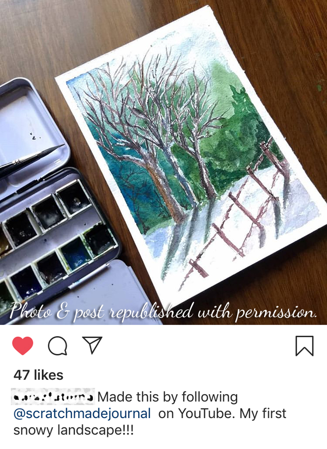 This wonderful person used one of my tutorials to create art and then graciously gave me full credit on social media. Though the finished piece looks very similar to my original, I was honored by her kindness and celebrated her success with her.