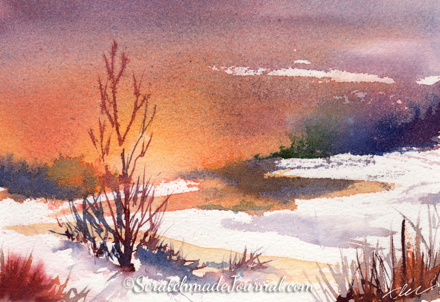 Bold winter sunset watercolor ©ScratchmadeJournal.com