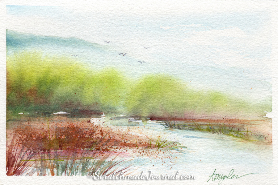 Fall migration over pond landscape watercolor ©ScratchmadeJournal.jpg
