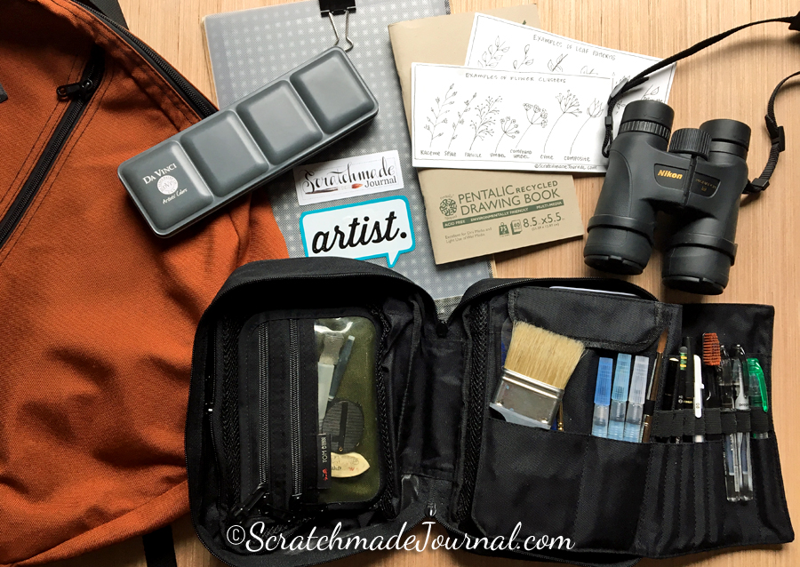My simple, lightweight, and highly portable watercolor and sketching kit has been with me for years, from big cities to cow pastures, and still looks great!