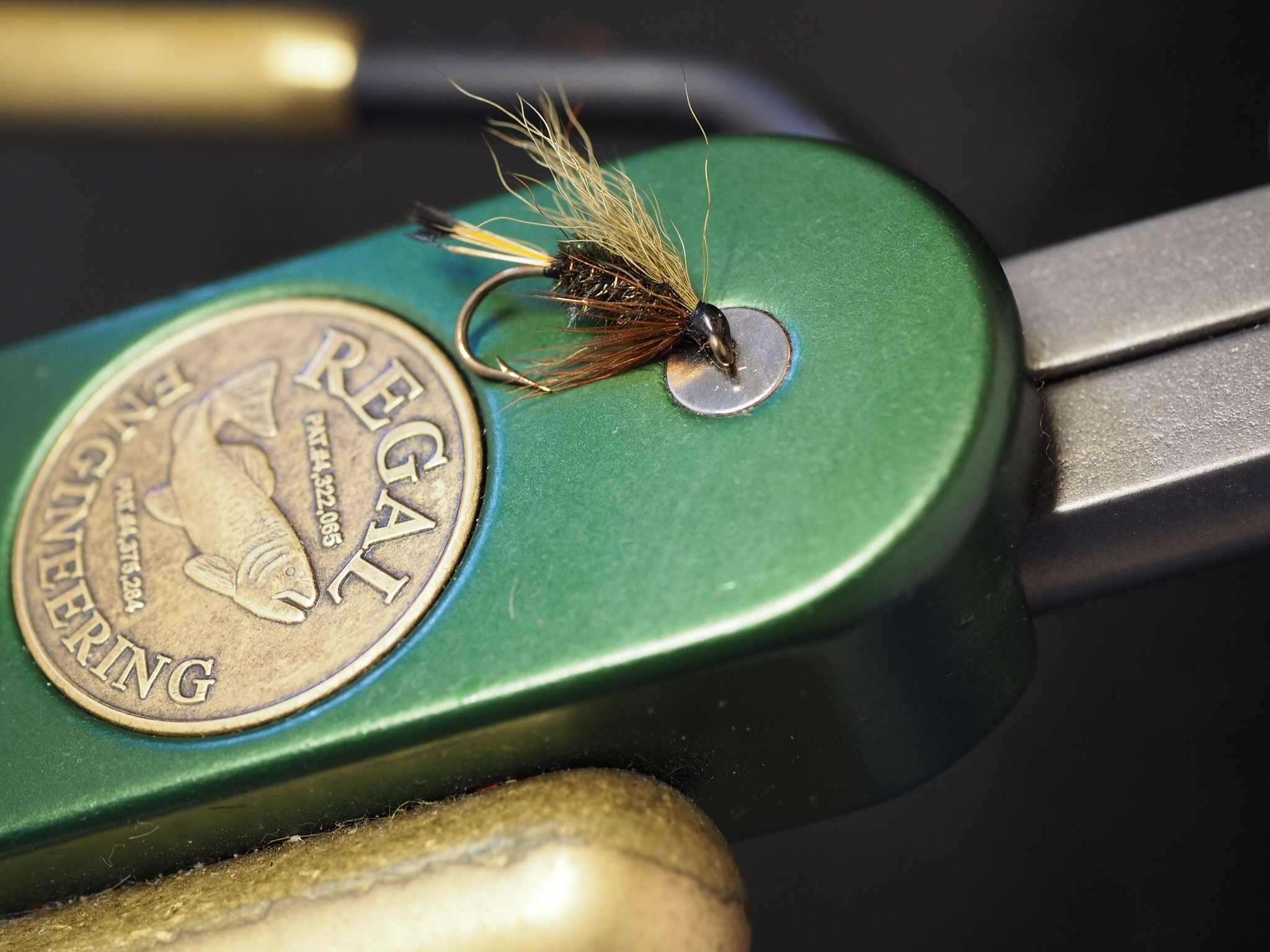 Olive wing, peacock herl body, golden pheasant tippet tail