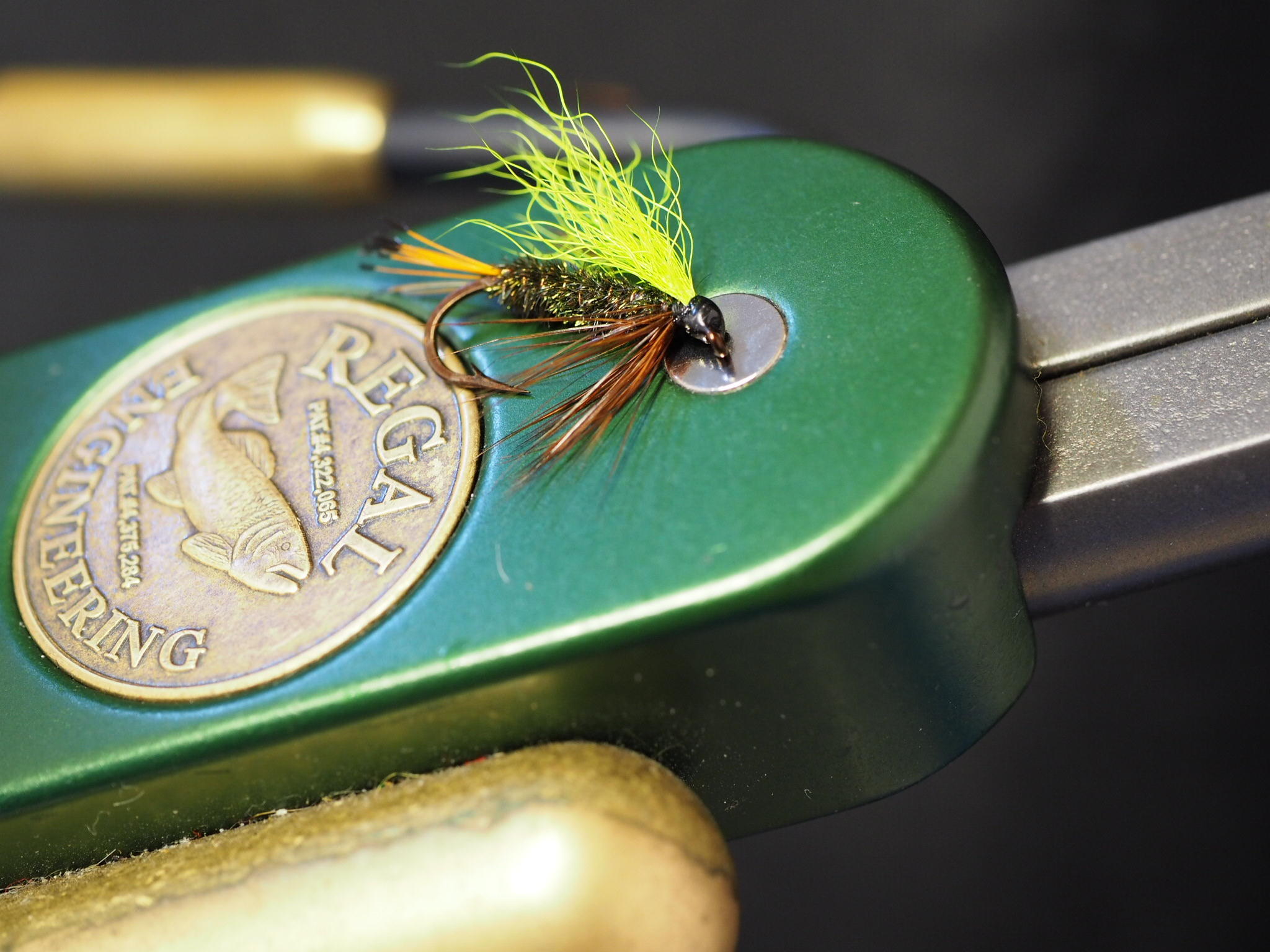 Yellow wing, peacock herl body, golden pheasant tippet tail