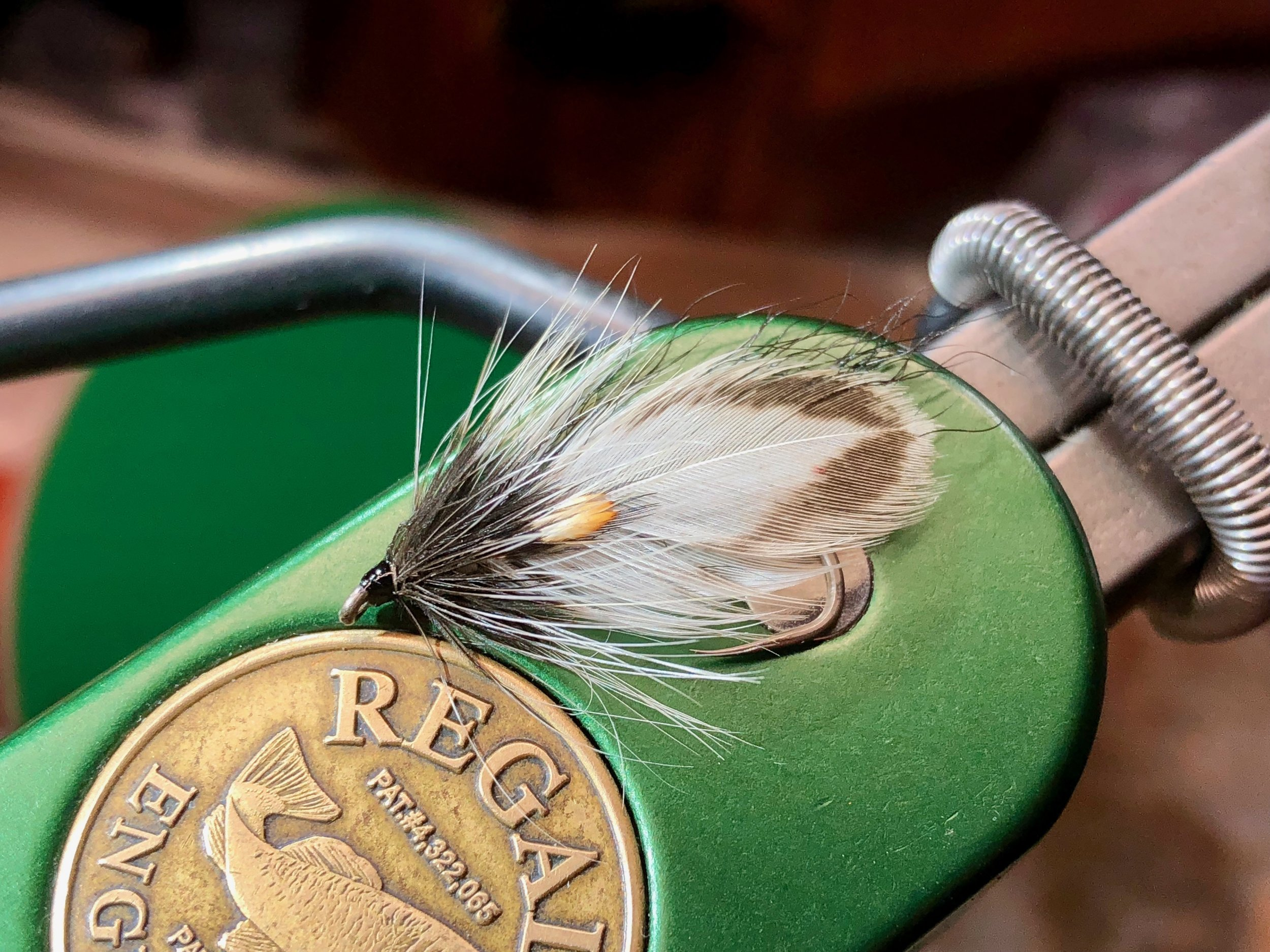 A black and white Hornberg Special tied as a wet fly/streamer.