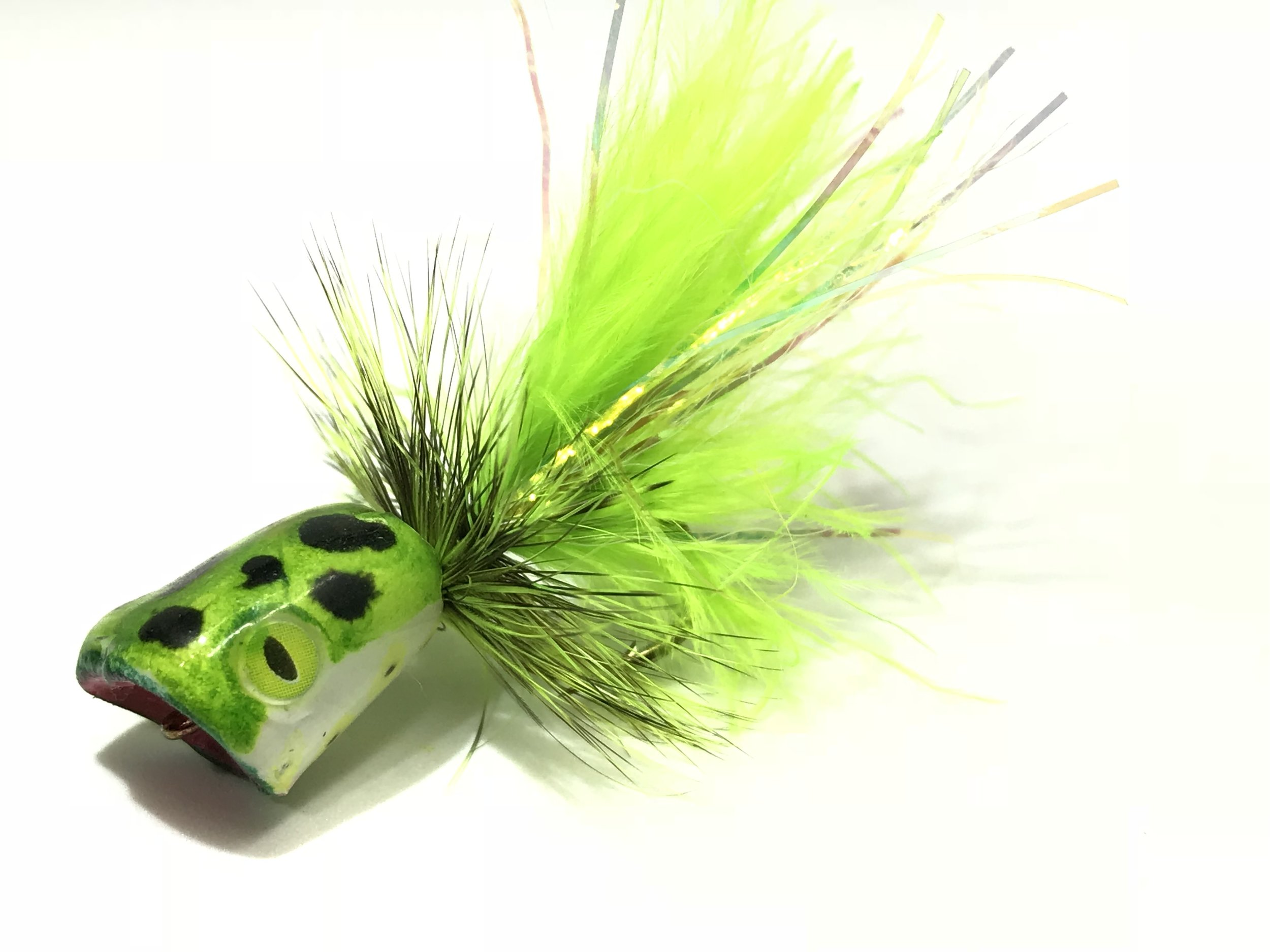 A Surface Seducer Double Barrel Popper tied by yours truly.