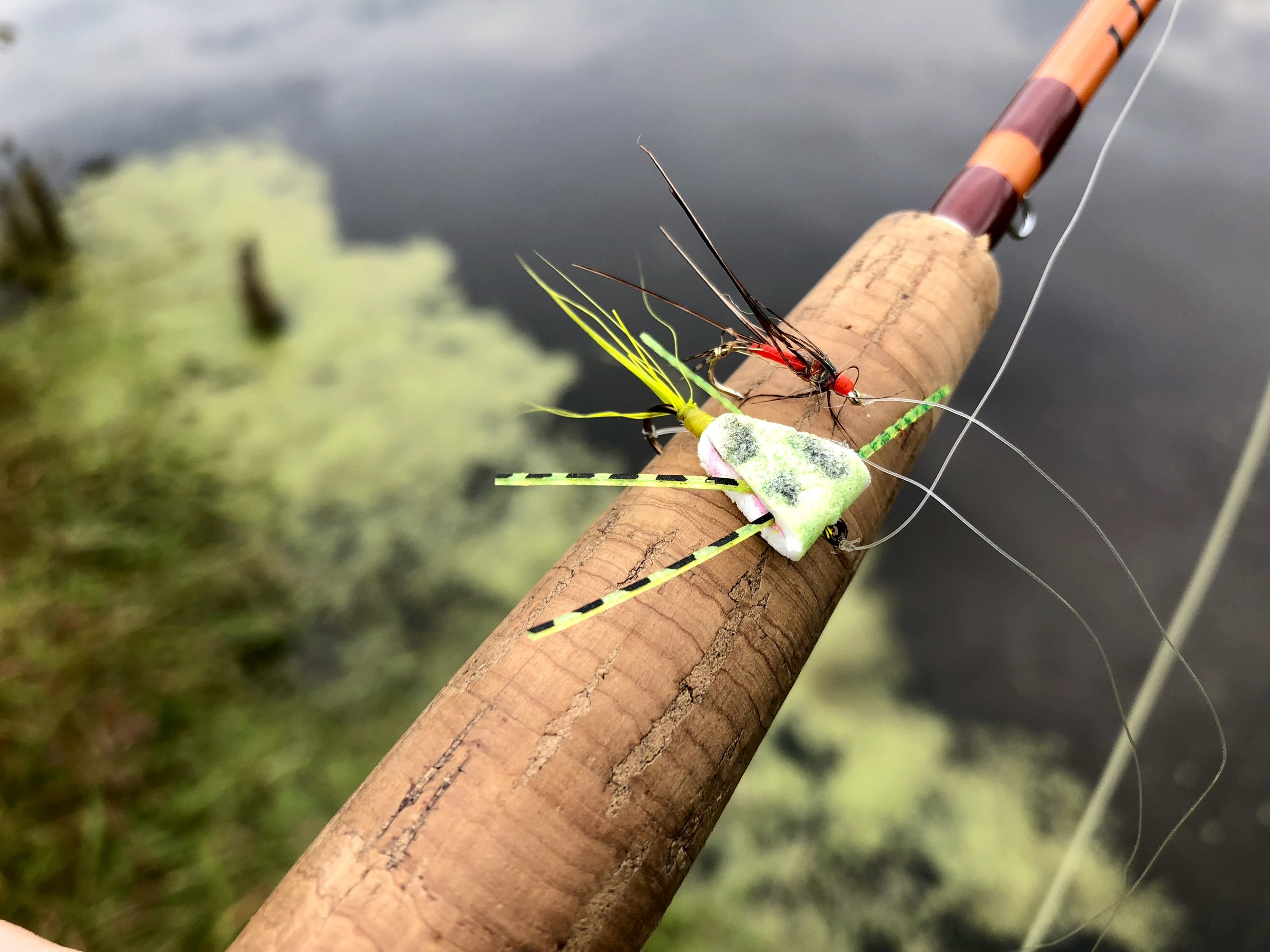 After a good number of fish the finish and tail is nearly worn off this triangle bug and the soft hackle dropper is missing its tail, body and most of its hackle but the duo was still going strong.