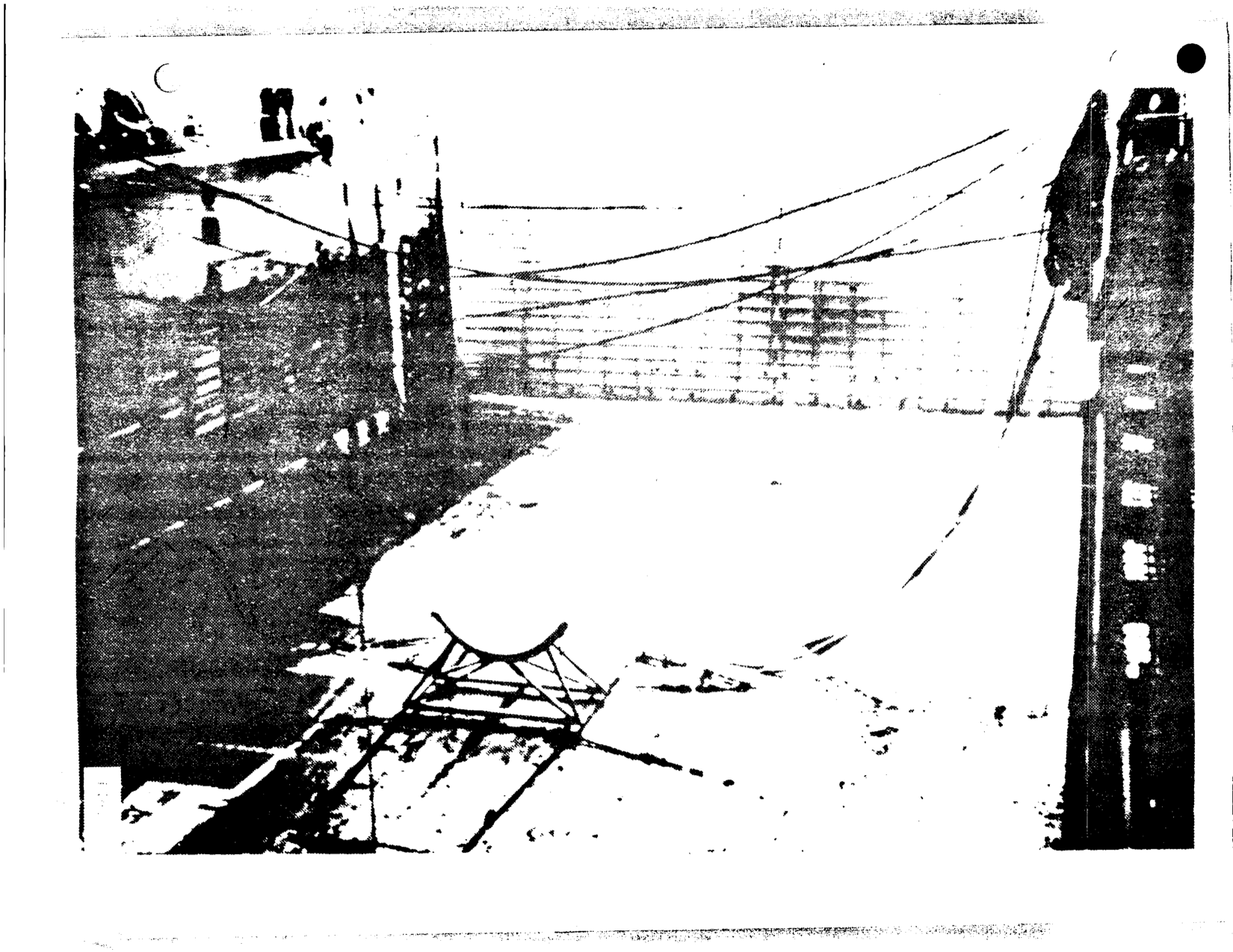 """One of two """"saddles"""" to support the booster is seen here in the well-deck of the Landing Ship."""