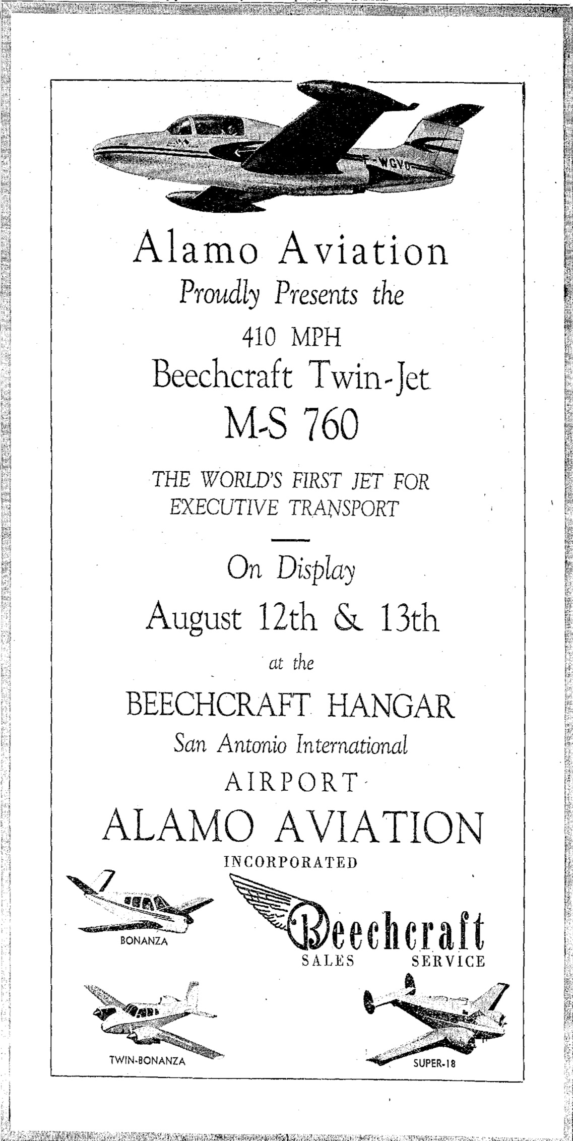 An ad for the demonstrations in the San Antonio Light, August 12 1955.
