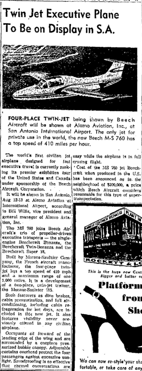 An article on the demonstration flight in the San Antonio Express, August 7, 1955.