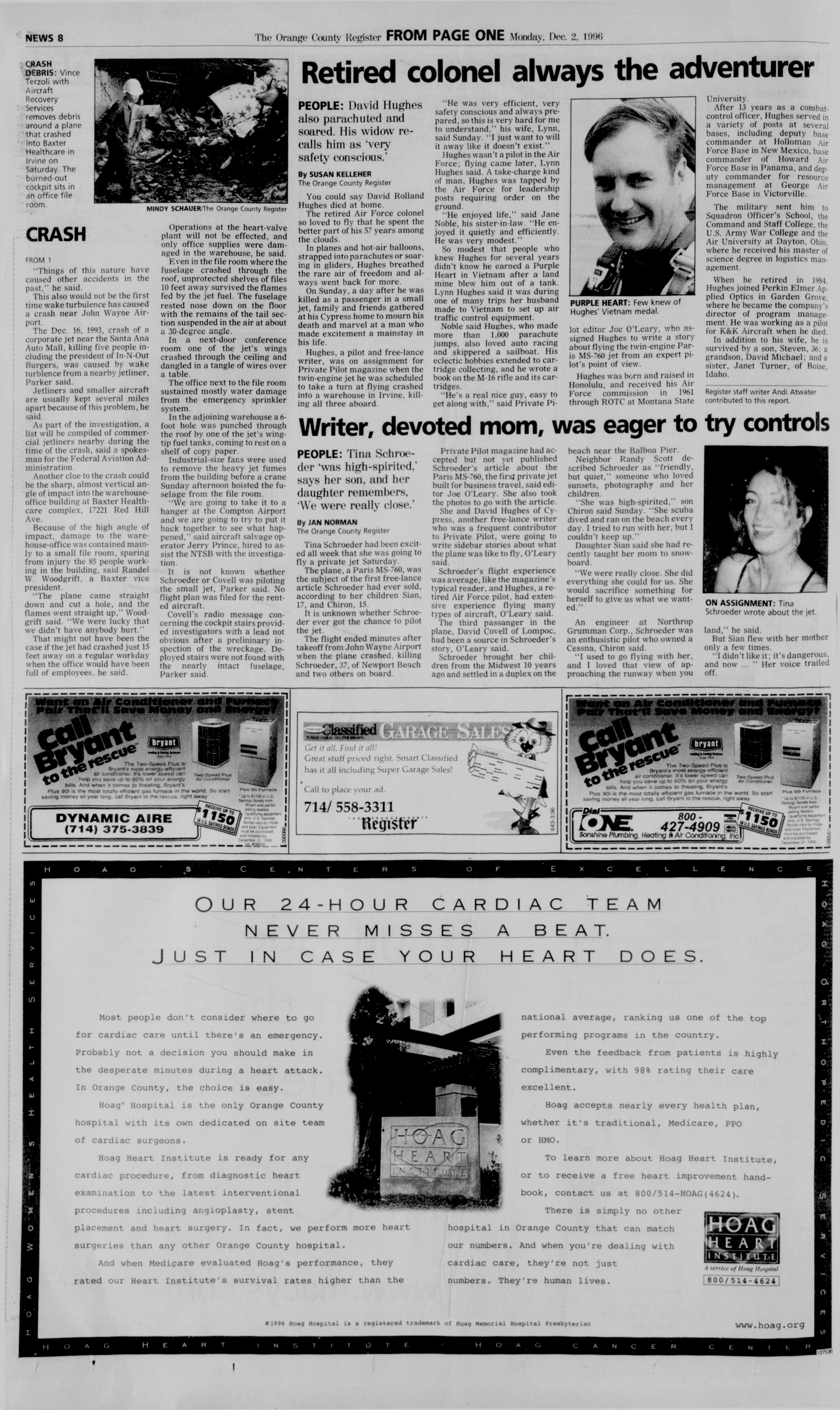 From the Orange County Register, December 2, 1996—2 days after the crash of N2TE